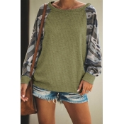 Lovely Casual Patchwork Army Green Sweatshirt Hood