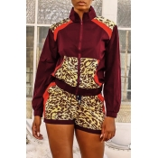 Lovely Casual Turndown Collar Patchwork Wine Red Two-piece Shorts Set