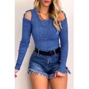 Lovely Trendy Dew Shoulder Blue Sweater
