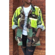 Lovely Trendy Tassel Design Patchwork Yellow Jacke