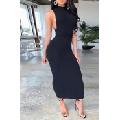 Lovely Sexy Bandage Design Black Ankle Length Dres
