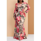 Lovely Casual Floral Printed Red Floor Length Trum