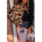 Lovely Trendy Camouflage Printed Gold Coat