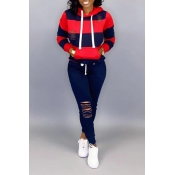 Lovely Casual Hooded Collar Hollow-out Red Two-pie