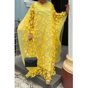 Lovely Casual Embroidery Design Yellow Floor Length Plus Size Dress