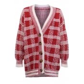 Lovely Trendy Plaid Printed Red Cardigan