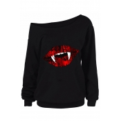 Lovely Halloween Casual Lip Printed Black Sweatshi