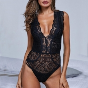Lovely Sexy Deep V Neck Hollow-out Black Teddies