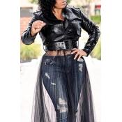 Lovely Chic Zipper Design Black Jacket(Without Bel
