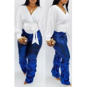 Lovely Casual Ruffle Design Blue Pants