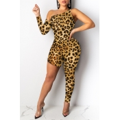 Lovely Trendy Asymmetrical Leopard Printed One-pie