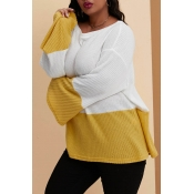 Lovely Casual Patchwork Yellow Plus Size Sweater