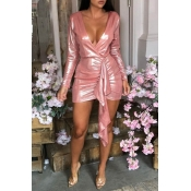 Lovely Chic Deep V Neck Asymmetrical Pink Mini Dre
