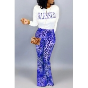 Lovely Casual Letter Printed Blue Two-piece Pants Set