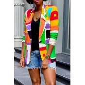 Lovely Chic Color-lump Patchwork Multicolor Coat