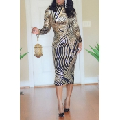 Lovely Casual Turtleneck Printed Gold Knee Length