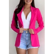 Lovely Casual Turn-down Collar Rose Red Blazer