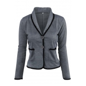 Lovely Work Buttons Short Dark Grey Coat