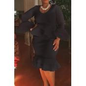 Lovely Casual Flounce Design Black  Knee Length Pl