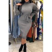 Lovely Casual Turtleneck Waist Skirt Grey Knee Len