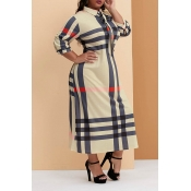 Lovely Casual Plaid Printed Beige Ankle Length Plu