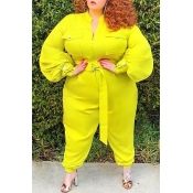 Lovely Casual Basic Yellow Plus Size One-piece Jum