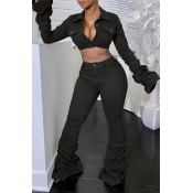 Lovely Casual Ruffle Design Black Two-piece Pants Set