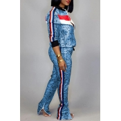 Lovely Casual Patchwork Blue Two-piece Pants Set