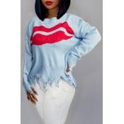 Lovely Trendy Asymmetrical Blue Sweater