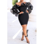 Lovely Trendy Off The Shoulder Flounce Design Black Mini Dress