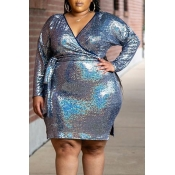 Lovely Casual V Neck Silver Plus Size Knee Length