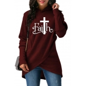 Lovely Casual Hooded Collar Letter Printed Wine Re