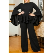 Lovely Casual Flounce Design Black Plus Size Two-p