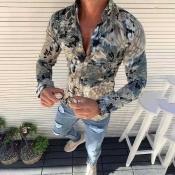 Lovely Trendy Turndown Collar Printed Grey Shirt