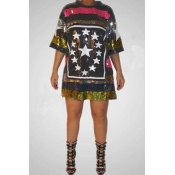 Lovely Casual Sequined Multicolor Plus Size Mini D