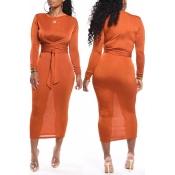 Lovely Casual Knot Design Orange Ankle Length Dres