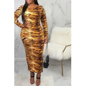 Lovely Casual Printed Yellow Ankle Length Dress