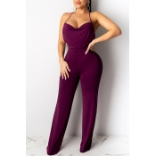 Lovely Sexy Backless Purple One-piece Jumpsuit