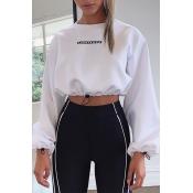 Lovely Casual Drawstring White Sweatshirt Hoodie