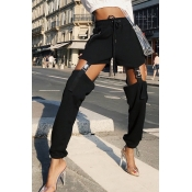 Lovely Casual Hollow-out Black Pants
