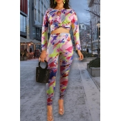 Lovely Trendy Basic Multicolor Two-piece Pants Set