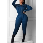 Lovely Casual Ruffle Design Deep Blue One-piece Ju