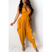 Lovely Casual Loose Yellow One-piece Jumpsuit