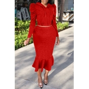 Lovely Casual Hooded Collar Flounce Red Two-piece