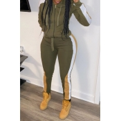 Lovely Casual Hooded Collar Patchwork Army Green T