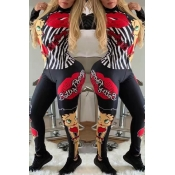 Lovely Leisure Printed Black Two-piece Pants Set