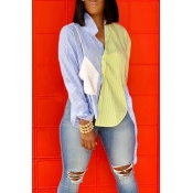 Lovely Casual Patchwork Striped Blue Blouse