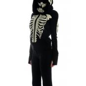 Lovely Halloween Hooded Collar Skull Printed Black