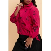 Lovely Casual Printed Red Plus Size Coat