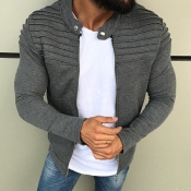 Lovely Leisure Zipper Design Grey Jacket